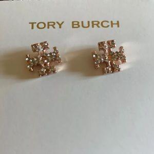 *TORY  BURCH* Crystal Logo Earrings